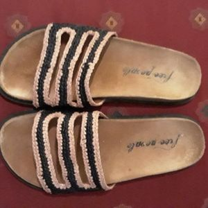Free People Crete Slide Sandal in black and tan 8